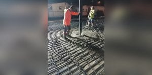 Concrete being poured at Gulf Star Marina.