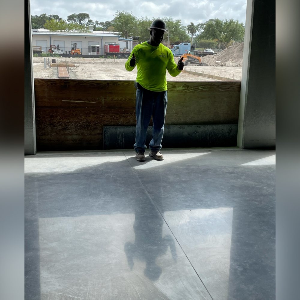 Finished and polished concrete slab at Pool Corp in Naples.