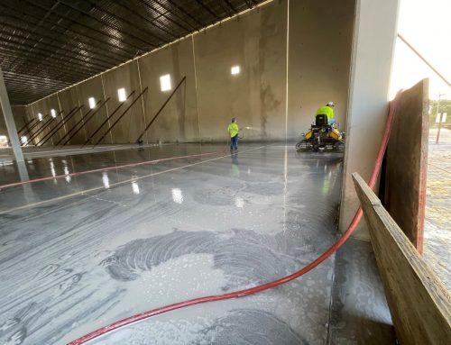 Concrete Pour Polishing in Progress at Pool Corp